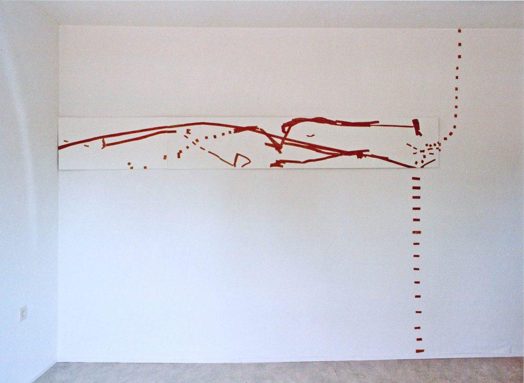 Die Auflösung des Tafelbildes - Öl auf Holz, Holzstückchen auf Tapete