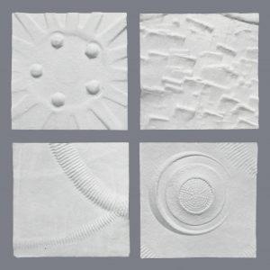 4 ARTEFAKES Prägedrucke - im Rahmen 50x50 cm