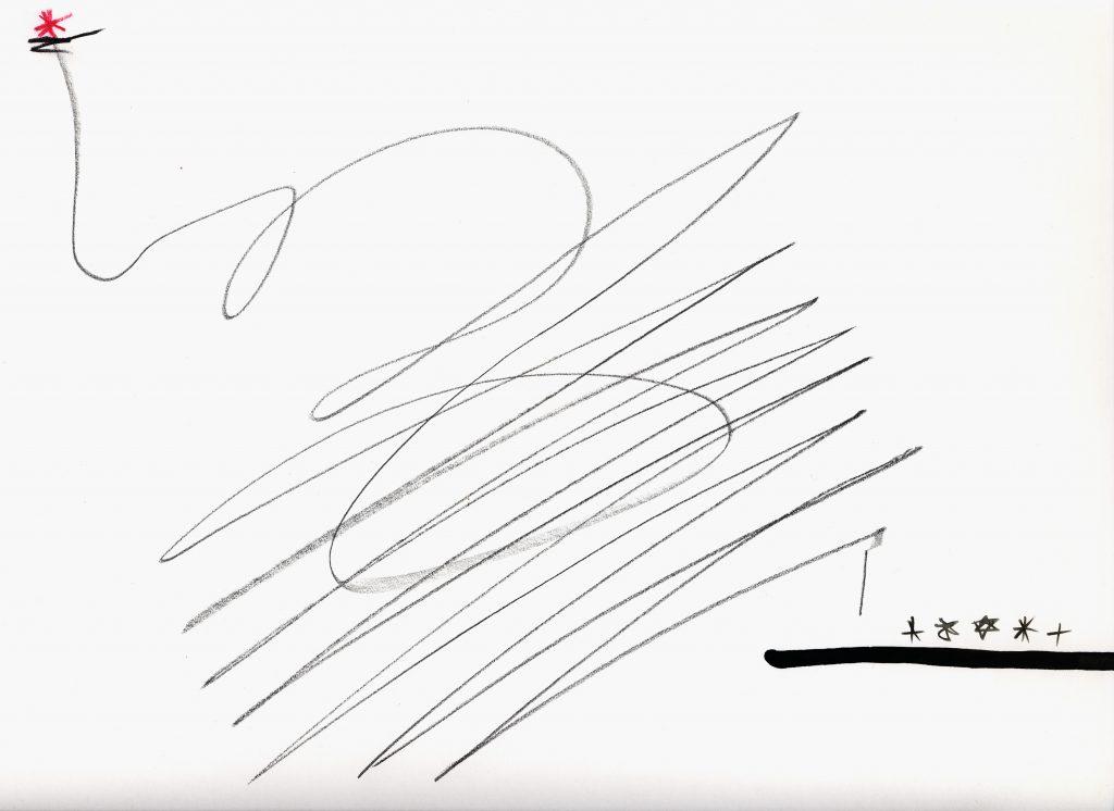 """""""mit Schlussstrich""""   Nr.  3   15.1.1991ultimative Zeichnung auf Papier à 40 x 40 cm, entstanden im Zusammenhang mit dem Ultimatum zum Golfkrieg  15.1.1991"""