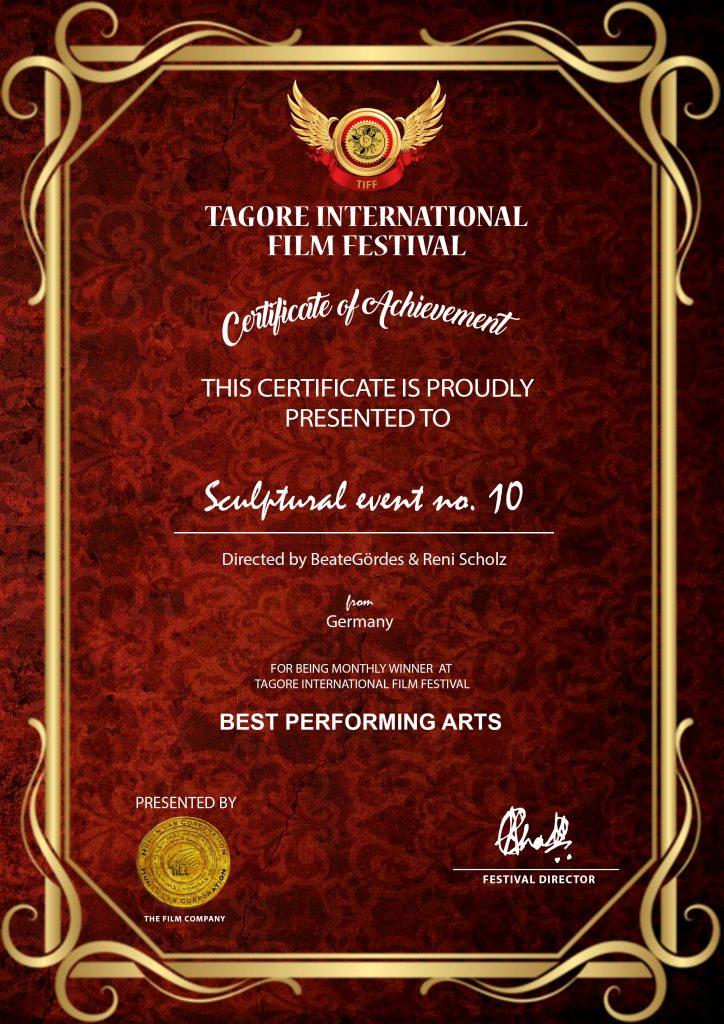 2020 Tagore - Preis  - Video - Sculptural event no. 10
